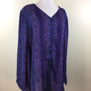 BOB MACKIE Black Blue Purple Leopard Button Shirt